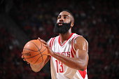 James Harden of the Houston Rockets shoots a free throw against the Dallas Mavericks in Game One of the Western Conference Quarterfinals during the...