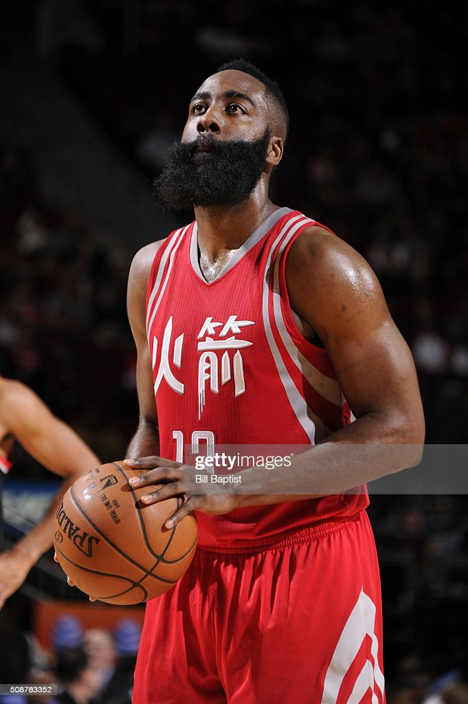<a gi-track='captionPersonalityLinkClicked' href=/galleries/search?phrase=James+Harden&family=editorial&specificpeople=4215938 ng-click='$event.stopPropagation()'>James Harden</a> #13 of the Houston Rockets shoots a free throw against the Portland Trail Blazers on February 6, 2016 at the Toyota Center in Houston, Texas.