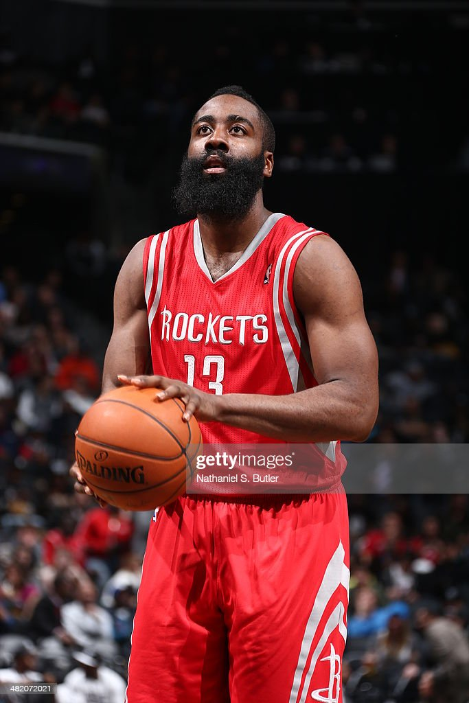 <a gi-track='captionPersonalityLinkClicked' href=/galleries/search?phrase=James+Harden&family=editorial&specificpeople=4215938 ng-click='$event.stopPropagation()'>James Harden</a> #13 of the Houston Rockets shoots a free throw during the game against the Brooklyn Nets at the Barclays Center on April 01, 2014 in the Brooklyn borough of New York City.
