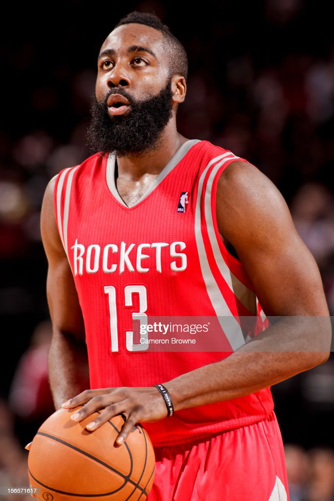 <a gi-track='captionPersonalityLinkClicked' href=/galleries/search?phrase=James+Harden&family=editorial&specificpeople=4215938 ng-click='$event.stopPropagation()'>James Harden</a> #13 of the Houston Rockets shoots a free-throw against the Portland Trail Blazers on November 16, 2012 at the Rose Garden Arena in Portland, Oregon.