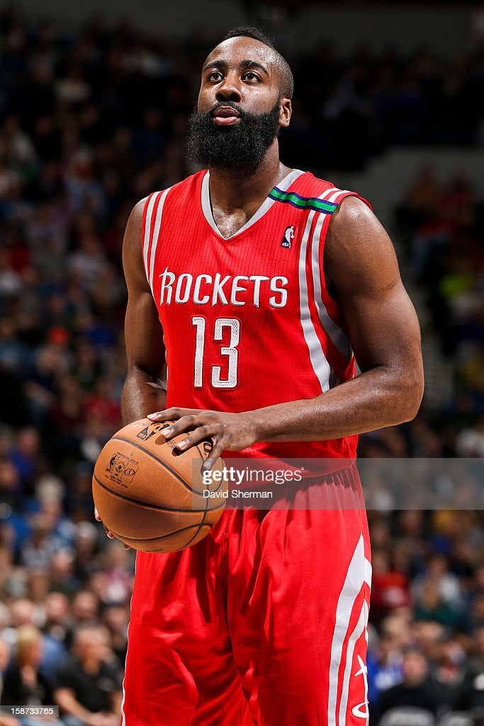 James Harden #13 of the Houston Rockets shoots a free-throw against the Minnesota Timberwolves on December 26, 2012 at Target Center in Minneapolis, Minnesota.