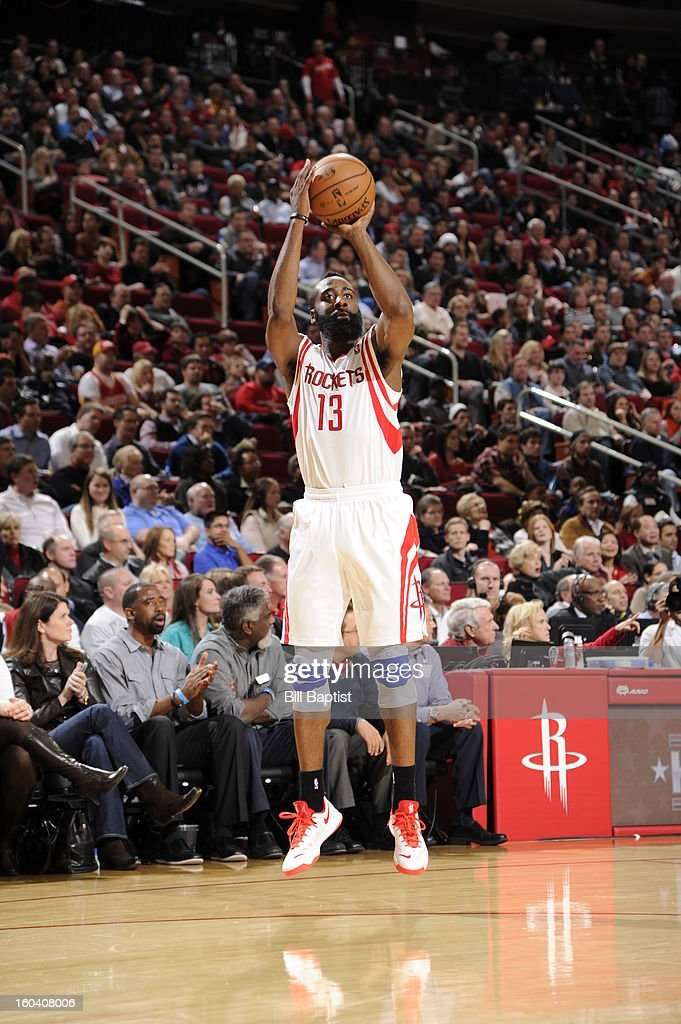 <a gi-track='captionPersonalityLinkClicked' href=/galleries/search?phrase=James+Harden&family=editorial&specificpeople=4215938 ng-click='$event.stopPropagation()'>James Harden</a> #13 of the Houston Rockets shoots a jumper against the Los Angeles Clippers on January 15, 2013 at the Toyota Center in Houston, Texas.