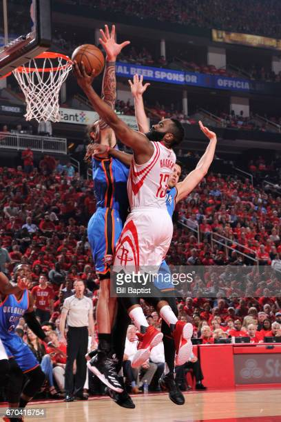 James Harden of the Houston Rockets shoots a lay up against the Oklahoma City Thunder during Game Two of the Western Conference Quarterfinals of the...