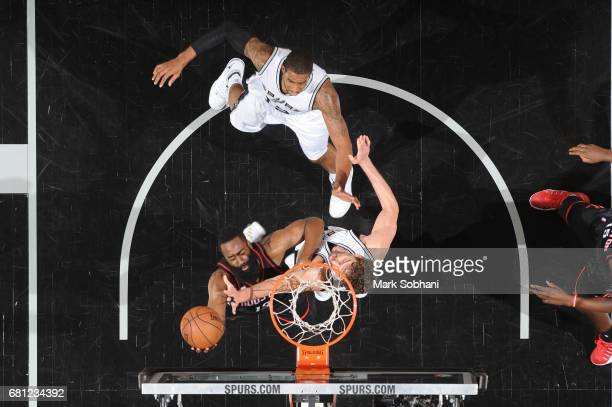 James Harden of the Houston Rockets shoots a lay up against the San Antonio Spurs in Game Five of the Western Conference Semifinals on May 9 2017 at...