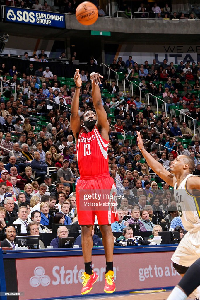 James Harden #13 of the Houston Rockets shoots a three-pointer against Randy Foye #8 of the Utah Jazz at Energy Solutions Arena on January 28, 2013 in Salt Lake City, Utah.