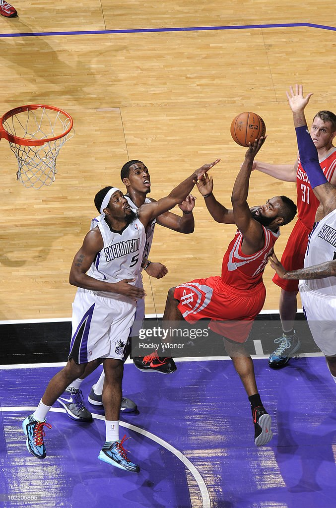 <a gi-track='captionPersonalityLinkClicked' href=/galleries/search?phrase=James+Harden&family=editorial&specificpeople=4215938 ng-click='$event.stopPropagation()'>James Harden</a> #13 of the Houston Rockets shoots against <a gi-track='captionPersonalityLinkClicked' href=/galleries/search?phrase=John+Salmons&family=editorial&specificpeople=202524 ng-click='$event.stopPropagation()'>John Salmons</a> #5 of the Sacramento Kings on February 10, 2013 at Sleep Train Arena in Sacramento, California.