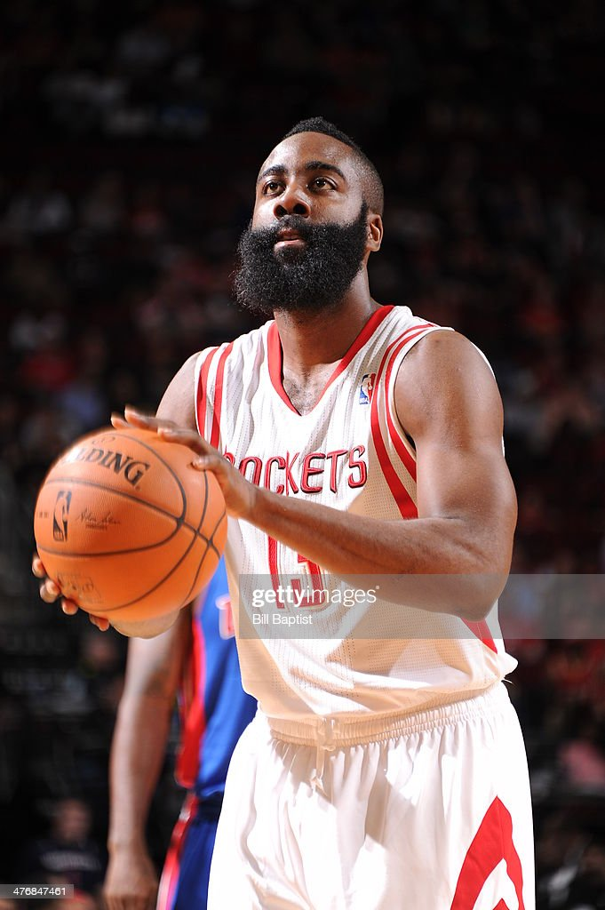 <a gi-track='captionPersonalityLinkClicked' href=/galleries/search?phrase=James+Harden&family=editorial&specificpeople=4215938 ng-click='$event.stopPropagation()'>James Harden</a> #13 of the Houston Rockets shoots against the Detroit Pistons on March 1, 2014 at the Toyota Center in Houston, Texas.