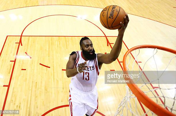 James Harden of the Houston Rockets shoots against the Golden State Warriors in the second half during Game Four of the Western Conference Finals of...