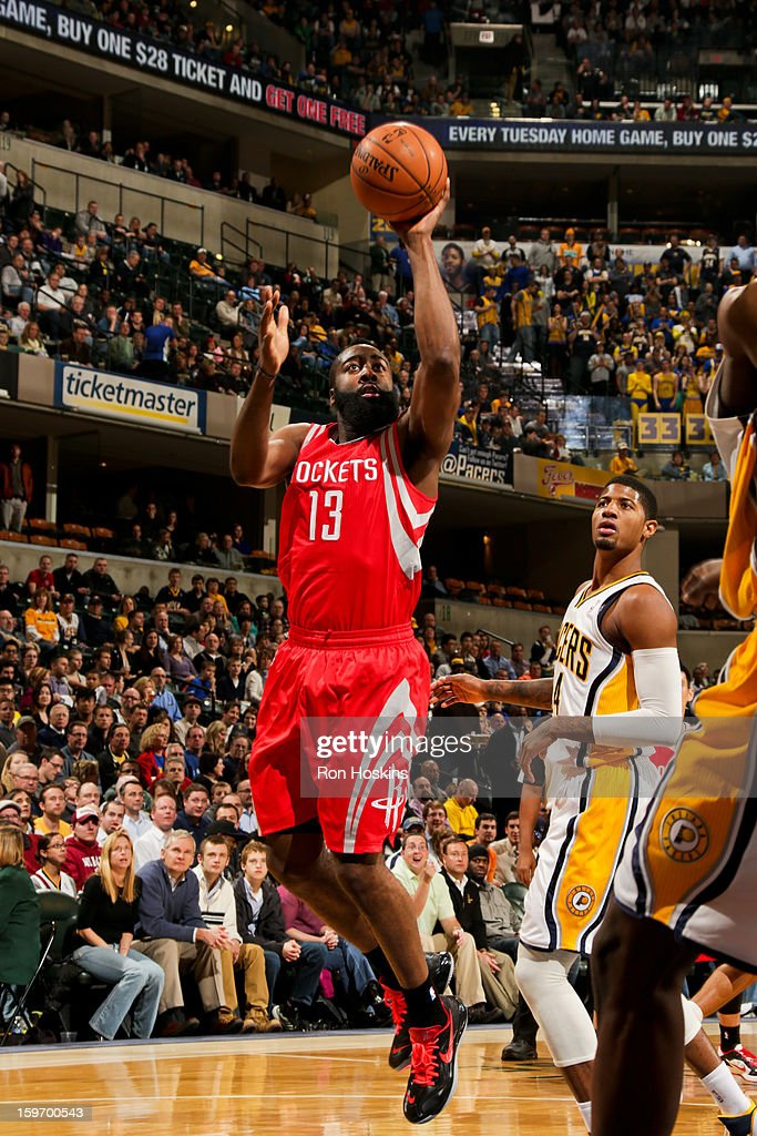 James Harden #13 of the Houston Rockets shoots against the Indiana Pacers on January 18, 2013 at Bankers Life Fieldhouse in Indianapolis, Indiana.