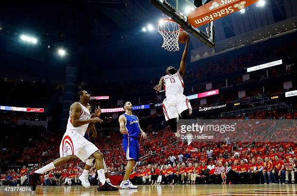 James Harden of the Houston Rockets shoots against the Los Angeles Clippers in the first quarter during Game Seven of the Western Conference...