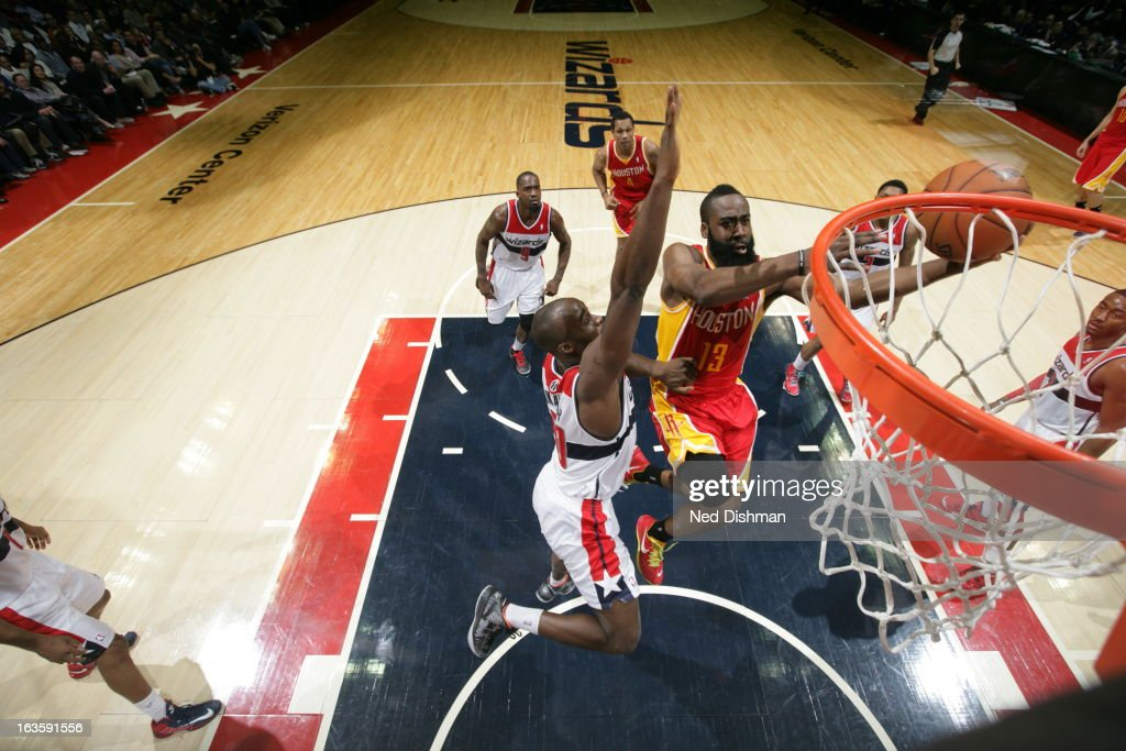 <a gi-track='captionPersonalityLinkClicked' href=/galleries/search?phrase=James+Harden&family=editorial&specificpeople=4215938 ng-click='$event.stopPropagation()'>James Harden</a> #13 of the Houston Rockets shoots against the Washington Wizards during the game at the Verizon Center on February 23, 2013 in Washington, DC.