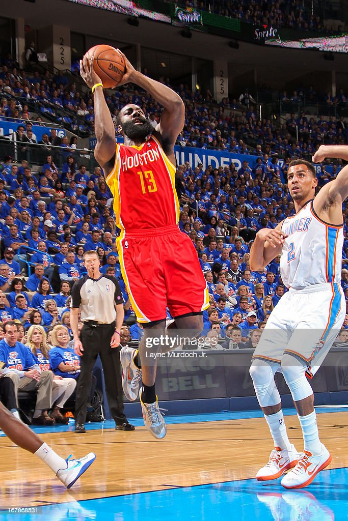 James Harden #13 of the Houston Rockets shoots in the lane against Thabo Sefolosha #2 of the Oklahoma City Thunder in Game Five of the Western Conference Quarterfinals during the 2013 NBA Playoffs on May 1, 2013 at the Chesapeake Energy Arena in Oklahoma City, Oklahoma.