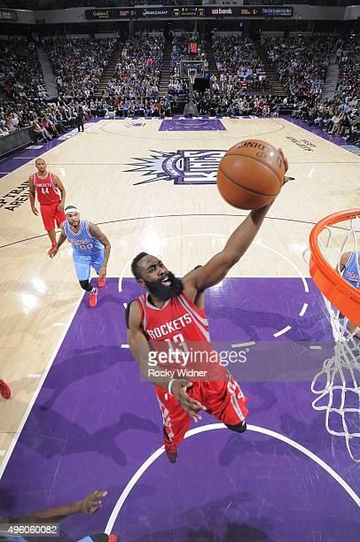 James Harden of the Houston Rockets shoots the ball against the Sacramento Kings at Sleep Train Arena on November 6 2015 in Sacramento California...