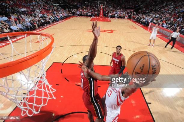 James Harden of the Houston Rockets shoots the ball against the Miami Heat on February 15 2017 at the Toyota Center in Houston Texas NOTE TO USER...