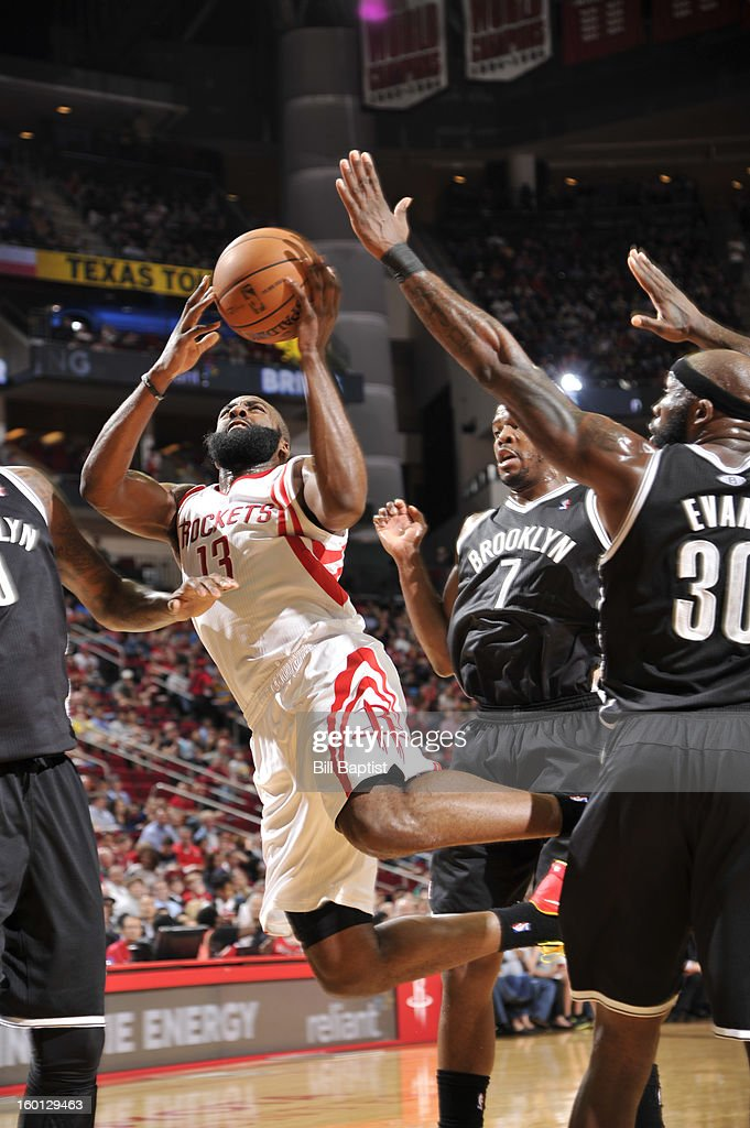 James Harden #13 of the Houston Rockets shoots the ball against the Brooklyn Nets on January 26, 2013 at the Toyota Center in Houston, Texas.