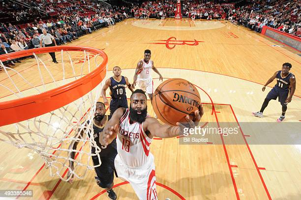 James Harden of the Houston Rockets shoots the ball against the New Orleans Pelicans during a preseason game on October 19 2015 at the Toyota Center...