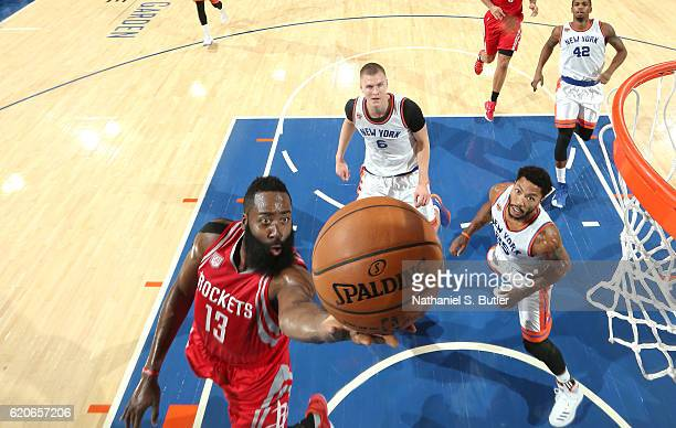 James Harden of the Houston Rockets shoots the ball against the New York Knicks on November 2 2016 at Madison Square Garden in New York City New York...