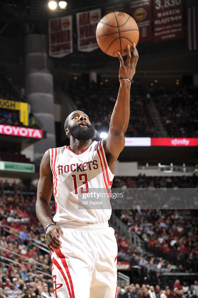 James Harden #13 of the Houston Rockets shoots the ball against the Chicago Bulls on November 21, 2012 at the Toyota Center in Houston, Texas.