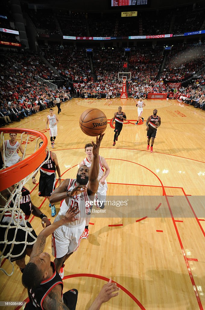 <a gi-track='captionPersonalityLinkClicked' href=/galleries/search?phrase=James+Harden&family=editorial&specificpeople=4215938 ng-click='$event.stopPropagation()'>James Harden</a> #13 of the Houston Rockets shoots the ball against the Portland Trail Blazers on February 8, 2013 at the Toyota Center in Houston, Texas.