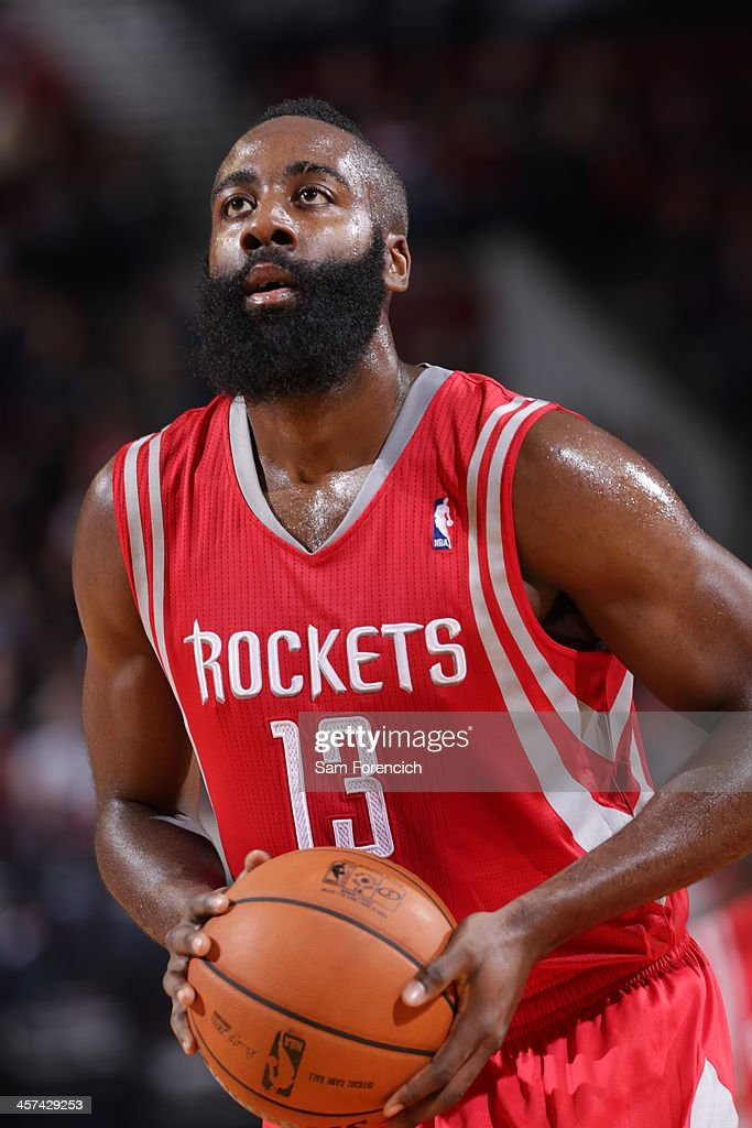 <a gi-track='captionPersonalityLinkClicked' href=/galleries/search?phrase=James+Harden&family=editorial&specificpeople=4215938 ng-click='$event.stopPropagation()'>James Harden</a> #13 of the Houston Rockets shoots the ball against the Portland Trail Blazers on November 5, 2013 at the Moda Center Arena in Portland, Oregon.