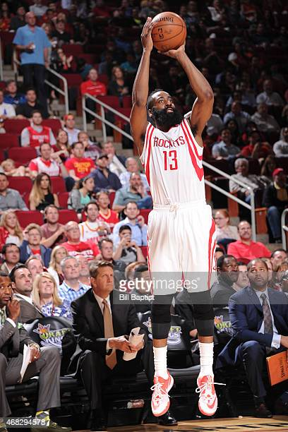 James Harden of the Houston Rockets shoots the ball against the Sacramento Kings on April 1 2015 at the Toyota Center in Houston Texas NOTE TO USER...