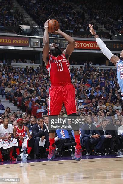 James Harden of the Houston Rockets shoots the ball against the Sacramento Kings on November 6 2015 at Sleep Train Arena in Sacramento California...