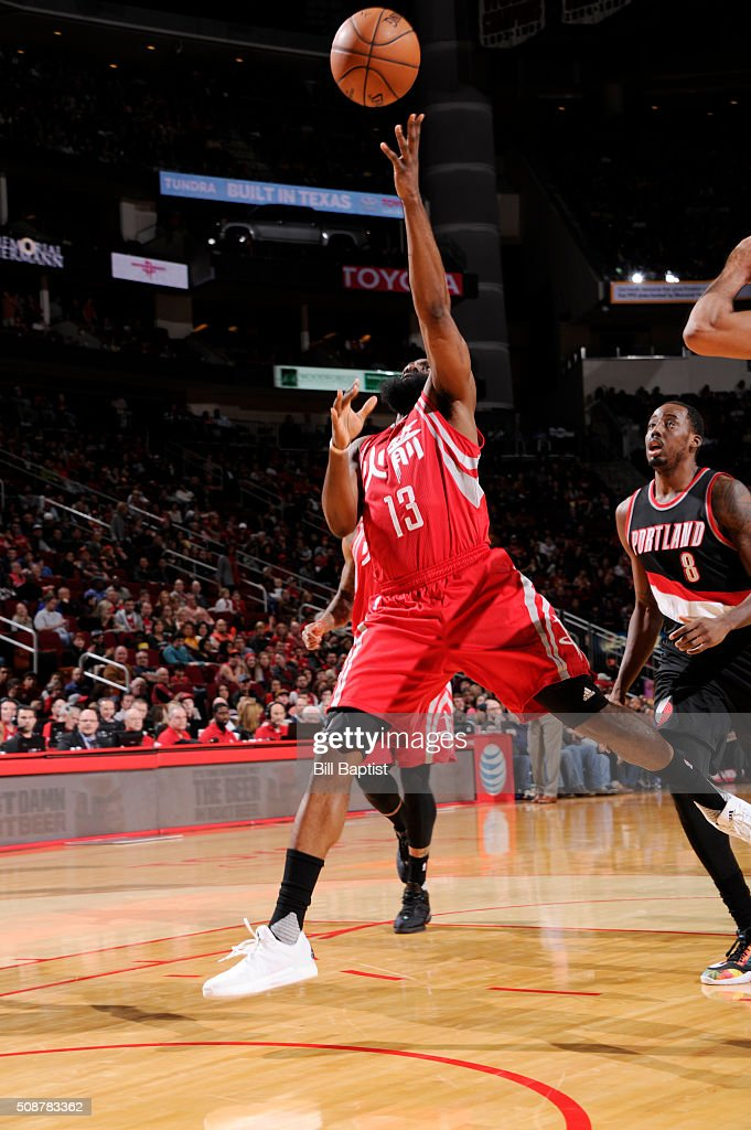 <a gi-track='captionPersonalityLinkClicked' href=/galleries/search?phrase=James+Harden&family=editorial&specificpeople=4215938 ng-click='$event.stopPropagation()'>James Harden</a> #13 of the Houston Rockets shoots the ball against the Portland Trail Blazers on February 6, 2016 at the Toyota Center in Houston, Texas.