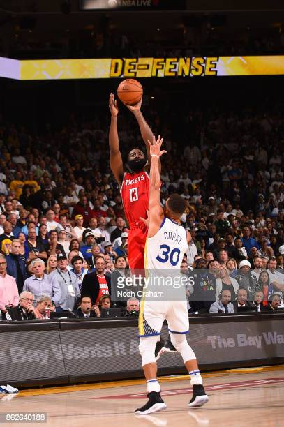 James Harden of the Houston Rockets shoots the ball against the Golden State Warriors on October 17 2017 at ORACLE Arena in Oakland California NOTE...