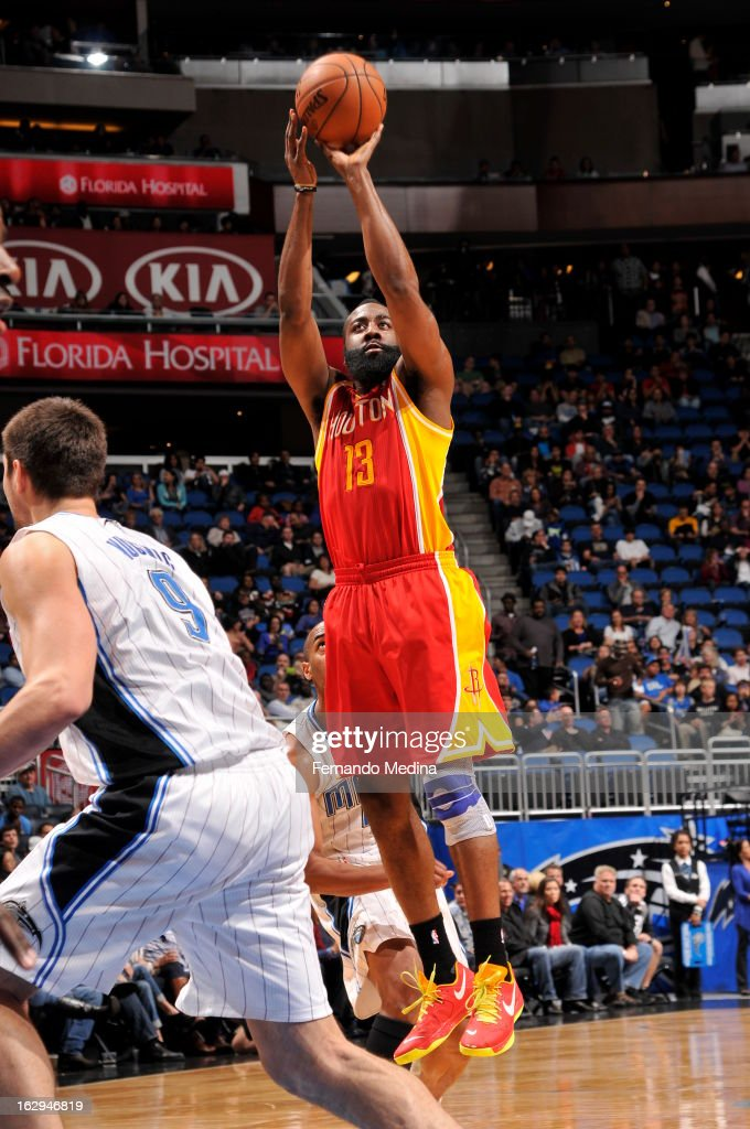 James Harden #13 of the Houston Rockets shoots the ball against the Orlando Magic during the game on March 1, 2013 at Amway Center in Orlando, Florida.