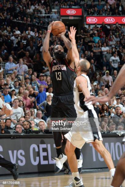 James Harden of the Houston Rockets shoots the ball against the San Antonio Spurs in Game Five of the Western Conference Semifinals on May 9 2017 at...