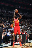 James Harden of the Houston Rockets shoots the ball during the Foot Locker Three Point Contest on State Farm AllStar Saturday Night as part of the...