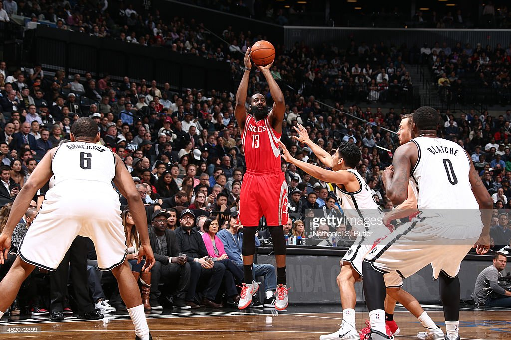 <a gi-track='captionPersonalityLinkClicked' href=/galleries/search?phrase=James+Harden&family=editorial&specificpeople=4215938 ng-click='$event.stopPropagation()'>James Harden</a> #13 of the Houston Rockets shoots the ball during the game against the Brooklyn Nets at the Barclays Center on April 01, 2014 in the Brooklyn borough of New York City.