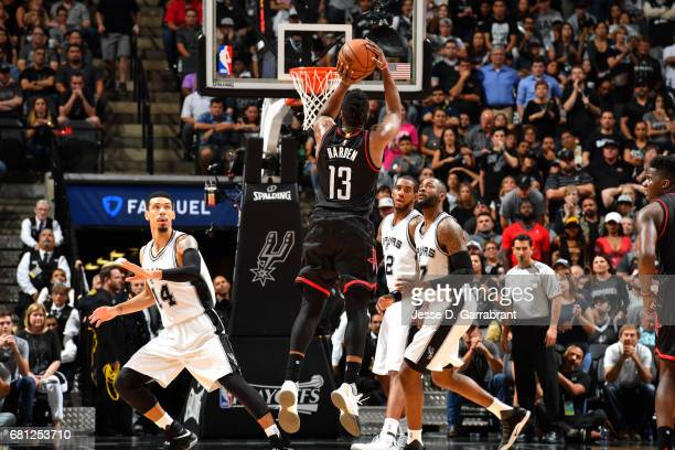 James Harden of the Houston Rockets shoots the ball during the game against the San Antonio Spurs during Game Five of the Western Conference...