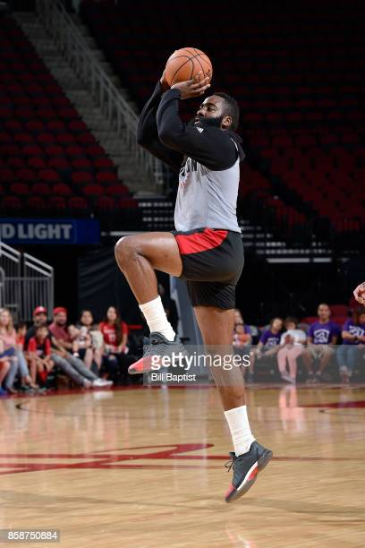 James Harden of the Houston Rockets shoots the ball during the team's annual Fan Fest event on October 7 2017 at the Toyota Center in Houston Texas...