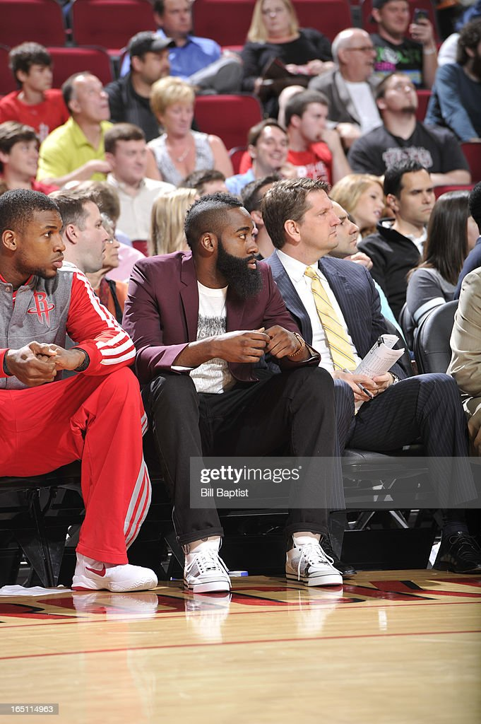 James Harden #13 of the Houston Rockets sits on the bench due to soreness in his right foot during the game against the Los Angeles Clippers on March 30, 2013 at the Toyota Center in Houston, Texas.