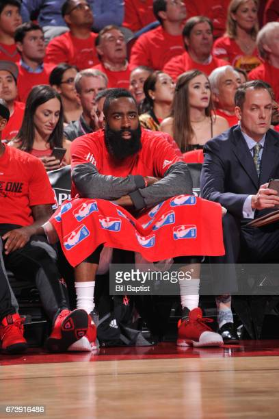 James Harden of the Houston Rockets sits on the bench during Game Five of the Western Conference Quarterfinals against the Oklahoma City Thunder...