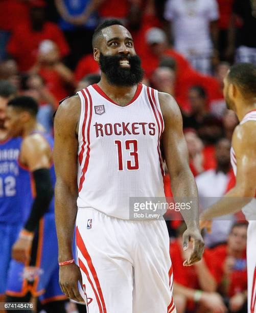 James Harden of the Houston Rockets smiles during Game Five of the Western Conference Quarterfinals game of the 2017 NBA Playoffs at Toyota Center on...