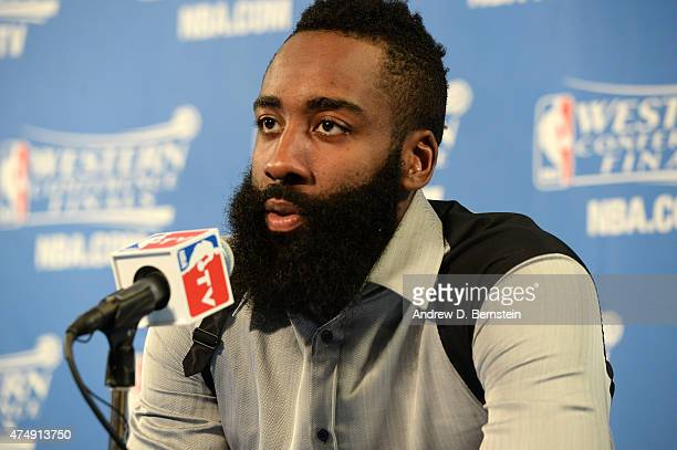 James Harden of the Houston Rockets speaks to the media after Game Five of the Western Conference Finals against the Golden State Warriors during the...