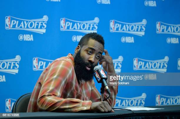 James Harden of the Houston Rockets speaks to the media after Game Five of the Western Conference Semifinals on May 9 2017 at the ATT Center in San...