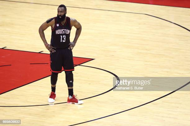 James Harden of the Houston Rockets stands at mid court during the Western Conference Quarterfinals game against the Oklahoma City Thunder during the...
