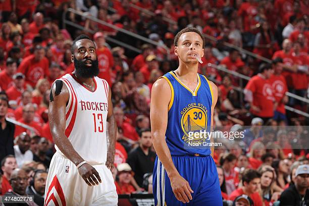 James Harden of the Houston Rockets stands on the court during a game against Stephen Curry of the Golden State Warriors in Game Four of the Western...