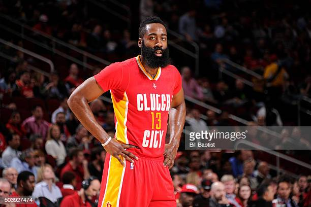 James Harden of the Houston Rockets stands on the court during the game against the Utah Jazz on January 7 2016 at the Toyota Center in Houston Texas...