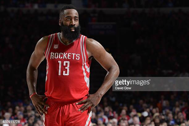 James Harden of the Houston Rockets stands on the court during the game against the Philadelphia 76ers at Wells Fargo Center on January 27 2017 in...