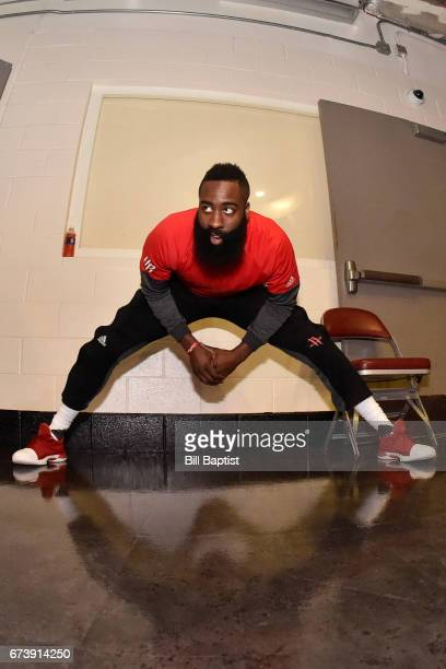 James Harden of the Houston Rockets stretches before Game Five of the Western Conference Quarterfinals against the Oklahoma City Thunder during the...