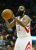 James Harden of the Houston Rockets takes a free throw during their game against the Atlanta Hawks at the Toyota Center on December 20 2014 in...