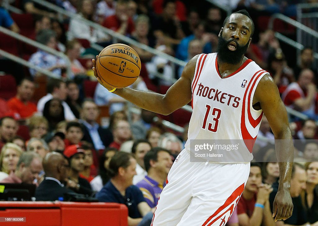James Harden #13 of the Houston Rockets takes the ball upcourt against the Phoenix Suns at the Toyota Center on April 9, 2013 in Houston, Texas.