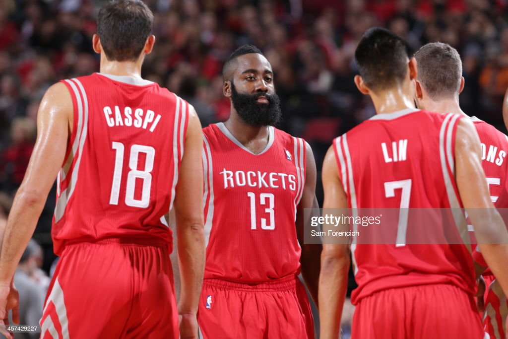 <a gi-track='captionPersonalityLinkClicked' href=/galleries/search?phrase=James+Harden&family=editorial&specificpeople=4215938 ng-click='$event.stopPropagation()'>James Harden</a> #13 of the Houston Rockets talks to his team against the Portland Trail Blazers on November 5, 2013 at the Moda Center Arena in Portland, Oregon.