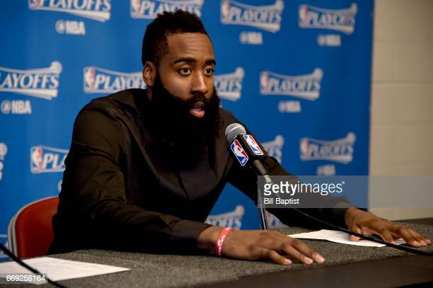 James Harden of the Houston Rockets talks to the media after the game against the Oklahoma City Thunder during the Western Conference Quarterfinals...