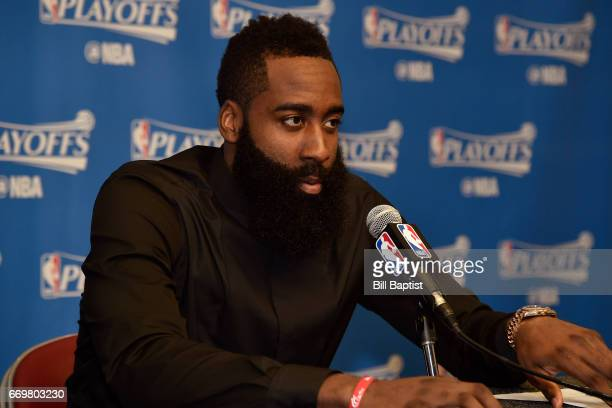 James Harden of the Houston Rockets talks to the media during a press conference after the Western Conference Quarterfinals game against the Oklahoma...