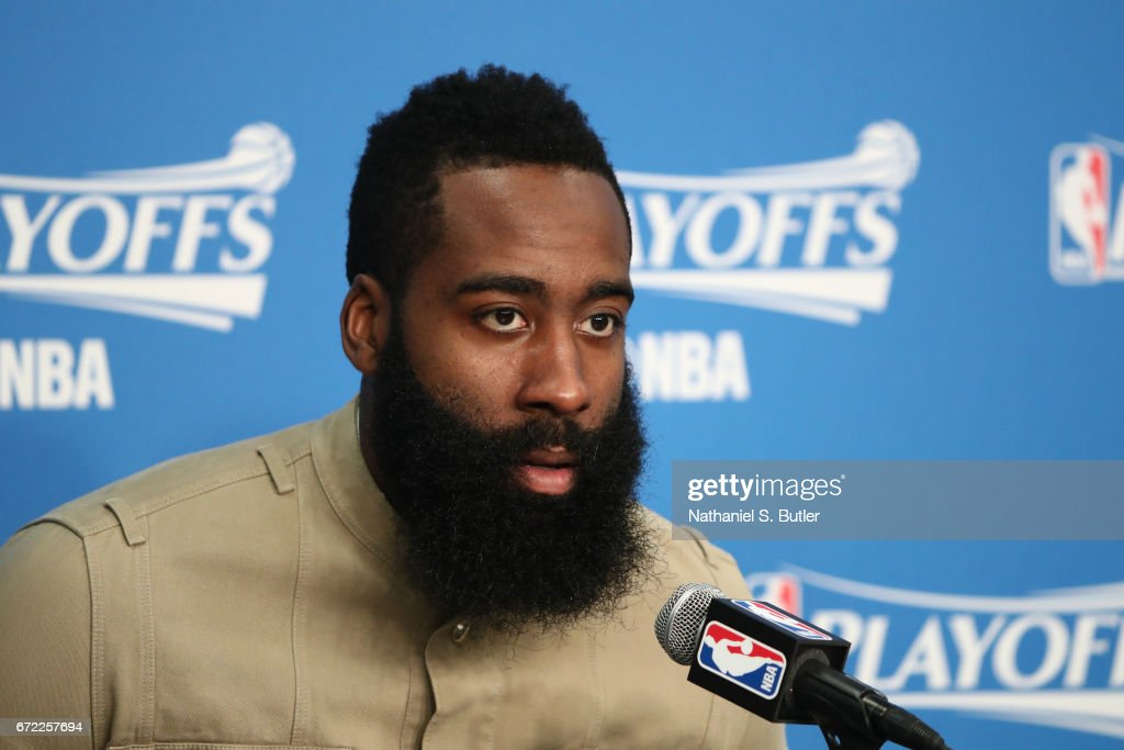 James Harden #13 of the Houston Rockets talks to the media during a press conference after Game Three of the Western Conference Quarterfinals against the Oklahoma City Thunder during the 2017 NBA Playoffs on April 21, 2017 at Chesapeake Energy Arena in Oklahoma City, Oklahoma.